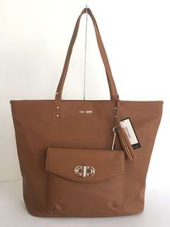 New! Nine West Office Pursuit Tote Bag in Tobacco Brown