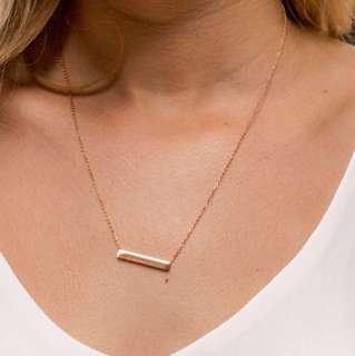Silver chain with rectangle pendant