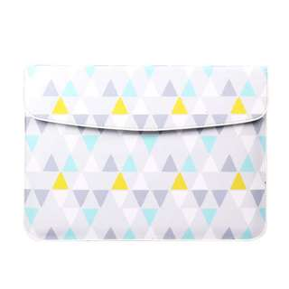 BN Grey Blue Yellow and White Geometric PU Leather MacBook Pro MacBook Air Laptop Cover
