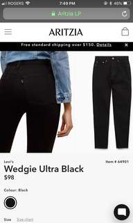 ARITZIA LEVIS ULTRA BLACK WEDGIES