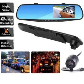 Ready Stock Car Dual Camera Mirror - Front & Rear View / Recording, Night Vision, Motion Detection, Loop Recording
