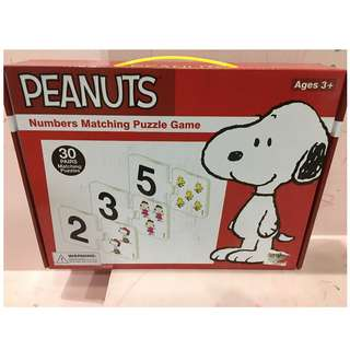 snoopy peanuts numbers matching puzzle game