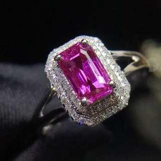 18K白金 帕帕拉恰鑽石戒指