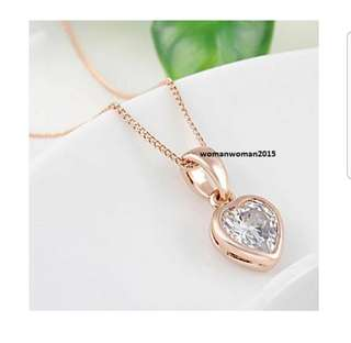18K Rose Gold Plated Heart Crystal Necklace