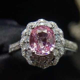 18K白金 無燒帕帕拉恰鑽石戒指