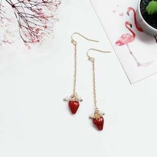Ladies Korean Cute Strawberry Dangle Drop Earring