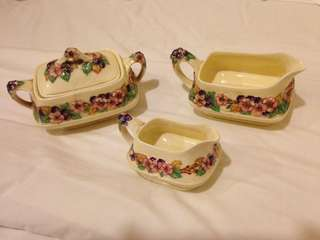Crown Ducal Creamer and Sugar Bowl set - England