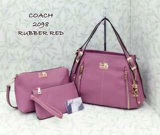 Coach Handbag 3 in 1 Rubber Red Color