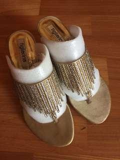 Gold open toe sandals
