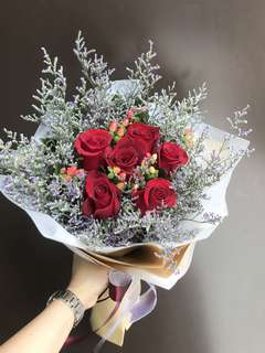 6 red roses Hypericum purple Caspia Bouquet/ Mother's Day special