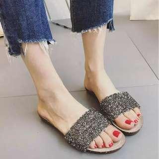 Rhinestone flat sandals