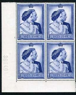 1948年大英帝國英皇佐治六世及伊莉莎伯皇后銀婚(Silver Jubilee Wedding Anniversary)1英鎊(Pound)四方連紀念票(未使用)