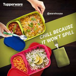 Tupperware 2 in 1 Foodies Buddy Takeaway Rectangular Divided Lunch Box