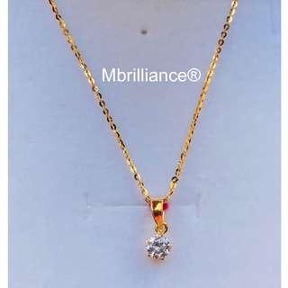 Slim polo chain & solitaire cz stone necklace set 916 gold Mbrilliance