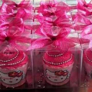 Towel cupcake (hello kitty) handmade