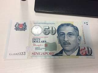 Brand new Nice number SGD50 note