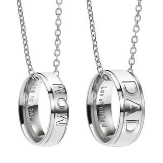 Mom With Love You Mom / Dad With Love You Dad Engraved Ring In Necklace For Mothers Day And Fathers Day (Stainless Steel)
