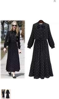 Bohemian Style Long Sleeve Printed Polka Dot Dress