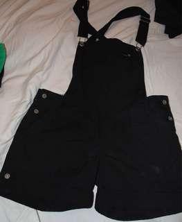 Black Denim Short Overalls