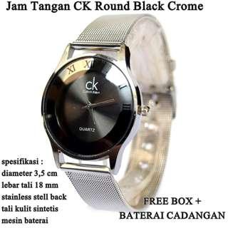 jam tangan Wanita ck Stainless Crome Black