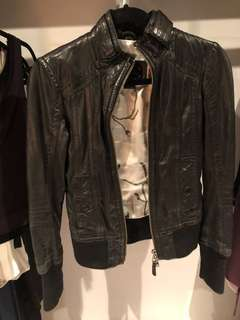 Aritzia Mackage Ellie leather moto jacket with cuffed sleeves and bottom