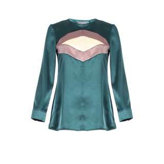 Poplook buffy colourblock satin blouse