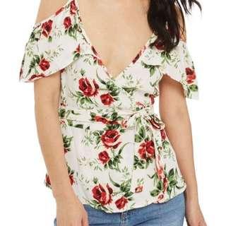 BNWOT Topshop cold shoulder floral wrap top