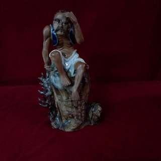 古代观天象星辰家瓷塑像