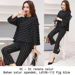 One set blouse + pants long stripe outfit
