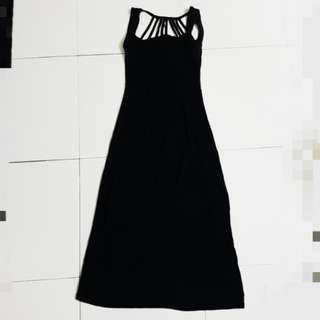 Black midi dress with back detail #20under