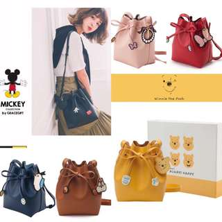 Grace Gift Disney Collection Drawstring Leather Bucket Bag Promotion