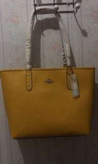 Coach yellow zip tote