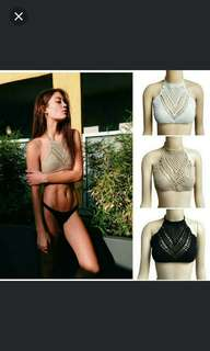 Bralette Cami Knitted bikini top [mocha color only] + Free Silicone Nipple Cover