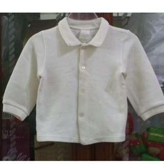 🚚 二手~童裝 米白色 長袖 襯衫 上衣 外套