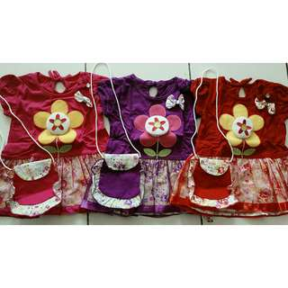 dress bunga free tas mini 3 warna