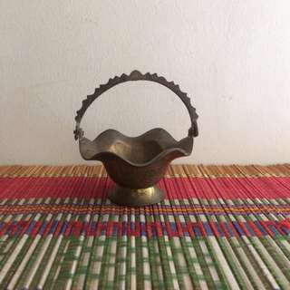 Mini solid brass basket with motif