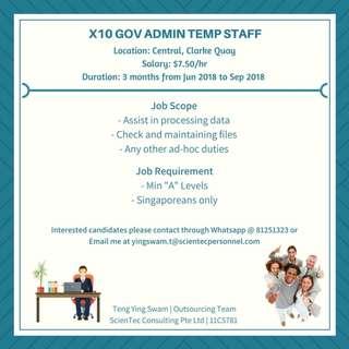 Govt Temp Admin Staff X10 (Central, $7.50 - 3 months)