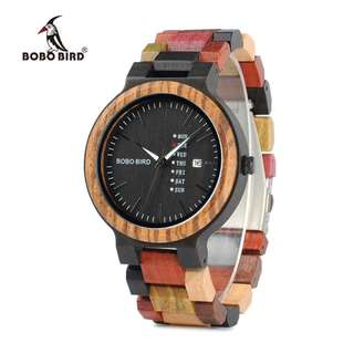 BOBO BIRD WP14-1 Colorful Wooden Watch for Men Women Fashion Wood Strap Week Display Date Quartz Watches Luxury Unisex Gift
