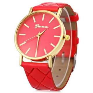 WOMEN QUARTZ WATCH CHECKS LEATHER BAND ROUND DIAL (RED)