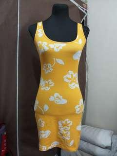 Yellow Floral Bodycon Dress