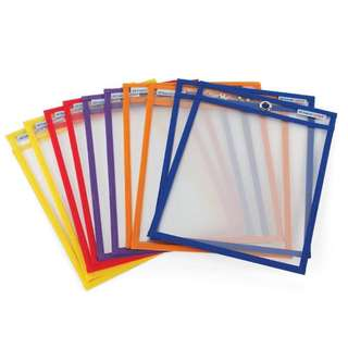ETA hand2mind Reusable Dry Erase Pockets, Assorted Colors, 5 Pockets per Pack