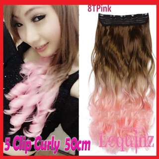Ombre Curl Light Brown to Pink Wavy Hair Extensions 50cm