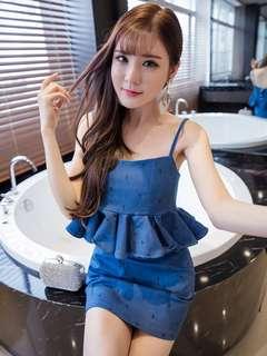 2-Piece: Lovely Sexy Mini Anchors Flouncing Skinny Straps Denim Dress Set (S / M / L) - OA/XKC072422