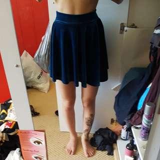 Boohoo Velour Style Light Blue Skater Skirt Size 8