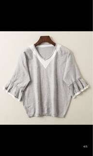 Buy 2 free 1~Knitted Grey Blouse