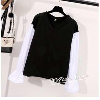 Buy 2 free 1~V neck bell sleeves sweater
