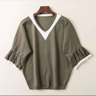 Buy 2 free 1~V Neck Bell Sleeves Blouse