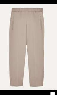 Aritzia Wilfred darontal dress pants with elastic waist and no pockets on the back dark taupe colour