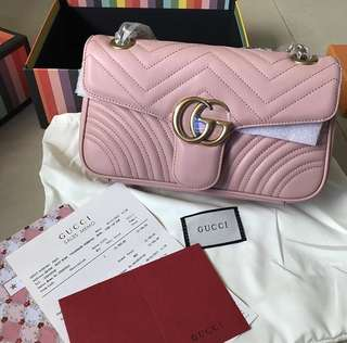 GUCCI GG MARMONT FLAP LEATHER 26CM