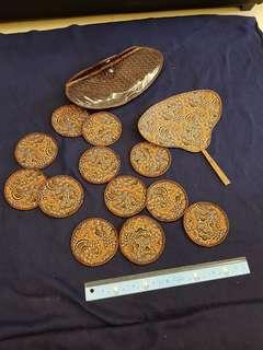 🚚 加勒比海風情手工編織杯墊與扇子
